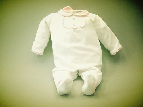 Pijama blanco y rosa Pasito a Pasito
