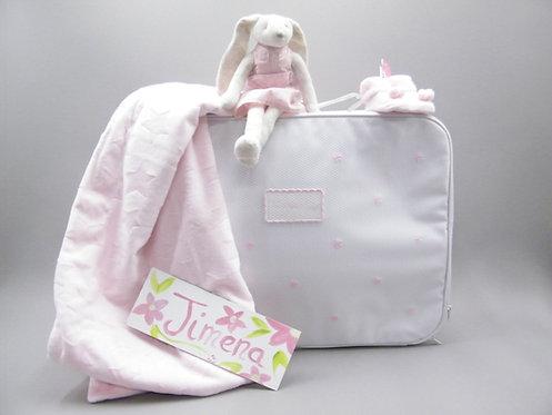 Canastilla maleta rosa