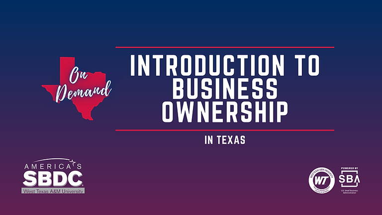 Introduction to Business Ownership - Online on demand