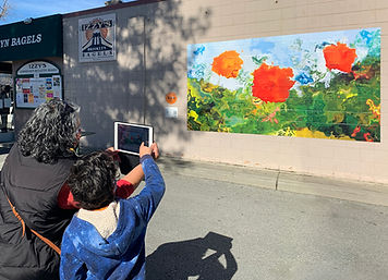 Interactive Mural poppies and people