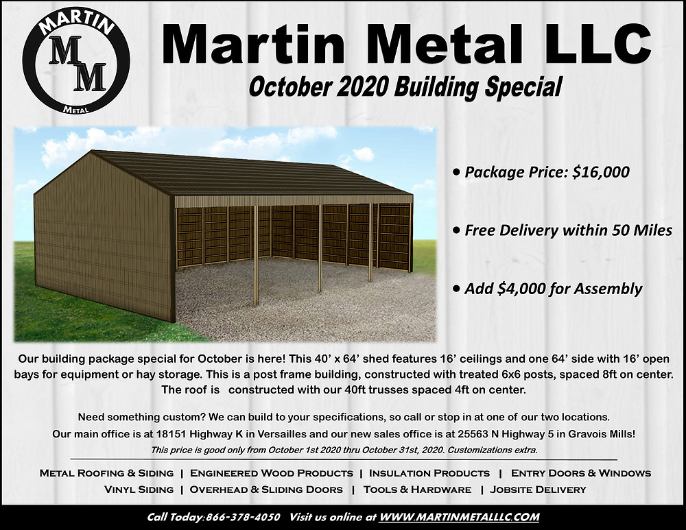 Martin Metal LLC Monthly Special Building Price