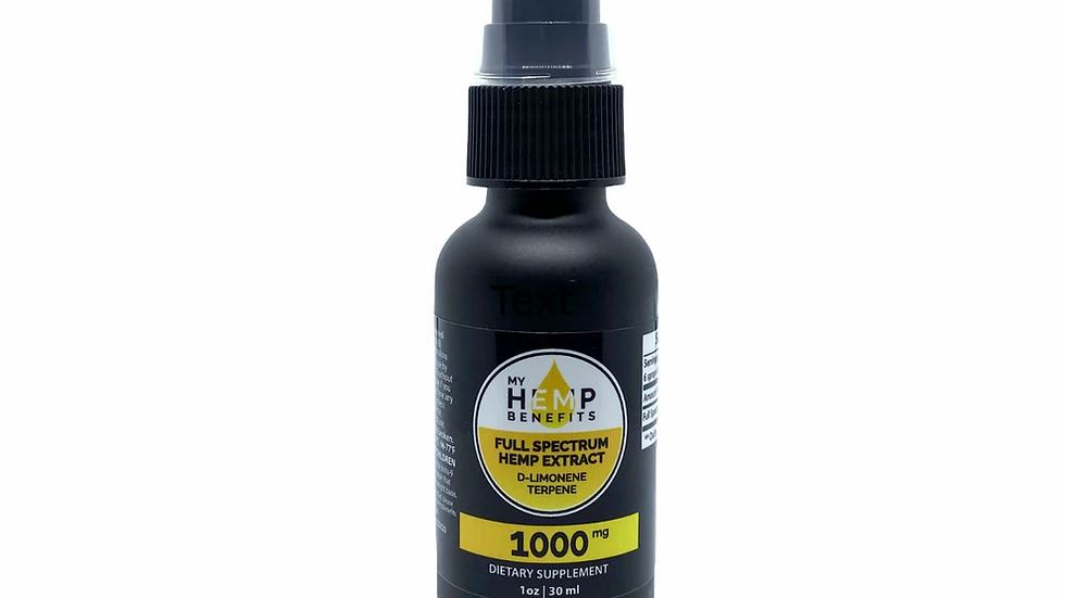 CBD Supplement Oral Spray Tincture - Full Spectrum 1000mg