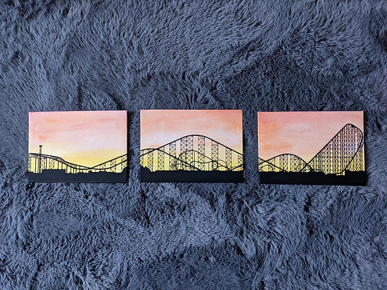 Theme park skyline canvas set | set of three canvas