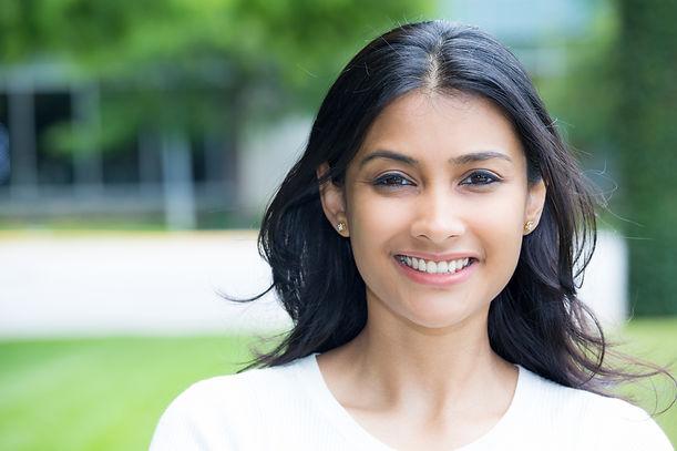 Closeup portrait of confident smiling ha