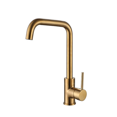 Reginox Rion Single Lever Mono Kitchen Sink Mixer In Brushed Gold Finish