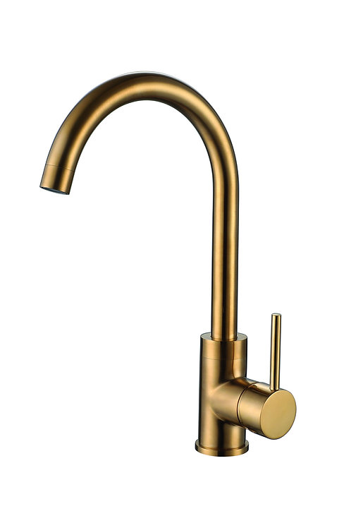 Reginox Kalix Swan Neck Mono Kitchen Sink Mixer In Brushed Gold Finish