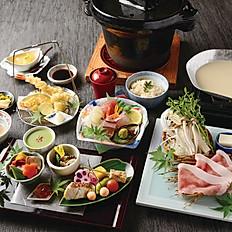『みやこ』会席 鹿児島黒豚の豆乳鍋、天婦羅など全6品