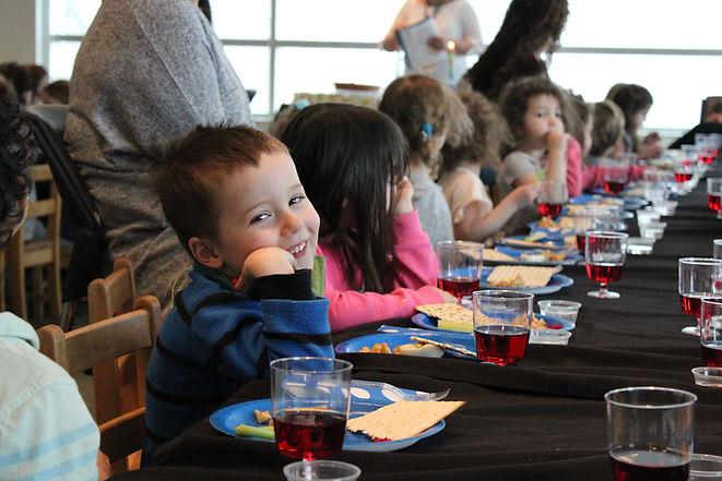preschool students at a passover seder