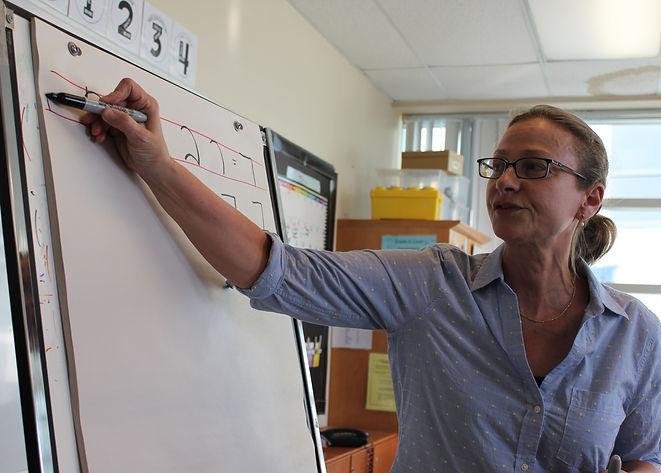 MNjcc Hebrew Teacher writing hebrew letters on a whiteboard