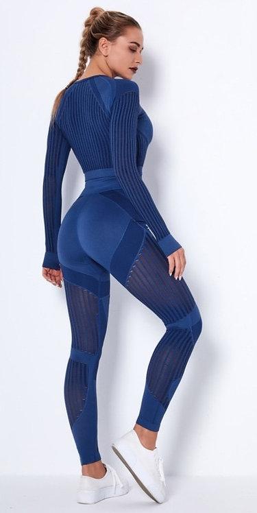 鏤空提花運動上衣/緊身褲Hollow jacquard sports top/leggings