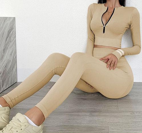 裸感拉鍊長袖運動套裝Nude zipper long sleeve sports suit