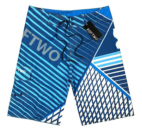 格子條紋海灘褲Check stripe board shorts
