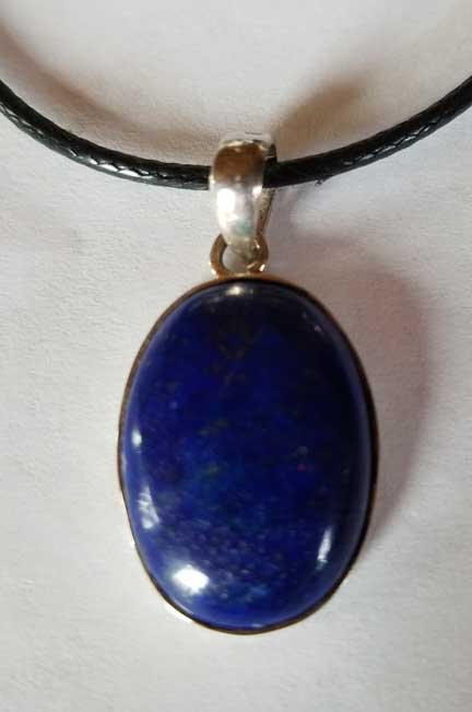 Lapis Lazuli Sterling Silver Pendant with Vegan Leather Cord-15