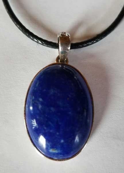 Lapis Lazuli Sterling Silver Pendant with Vegan Leather Cord-11