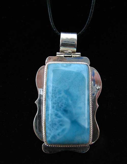 Sterling Larimar Pendant with Cord or Silver Chain-15