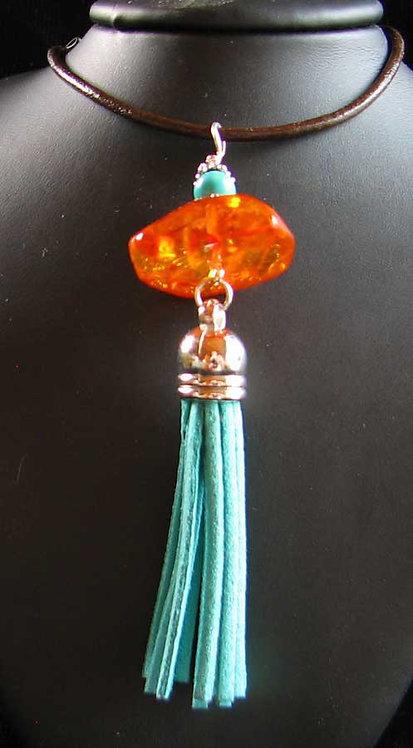Amber and Turquoise Tassel Pendant