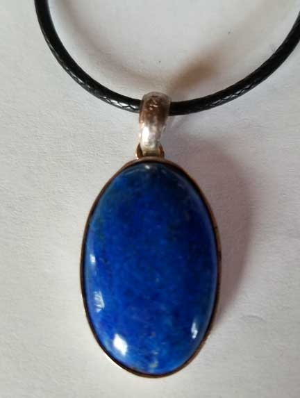 Lapis Lazuli Sterling Silver Pendant with Vegan Leather Cord-6