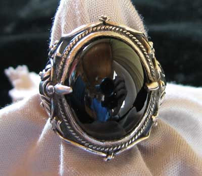 Sterling Silver & Natural Black Jade Ring
