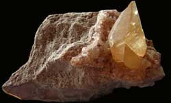 Golden Calcite Crystal on Matrix-2