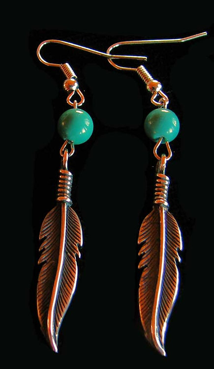Sterling Silver Feather with Turquoise Bead Earrings