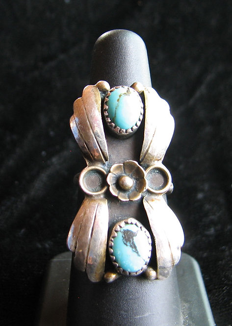 Old Pawn Navajo Turquoise Ring-1