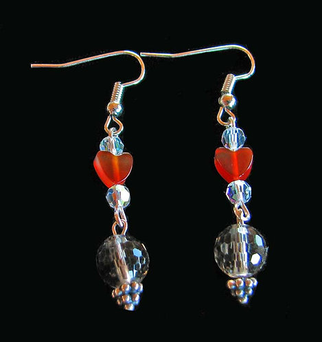 Carnelian Heart with Faceted Quartz Handmade Earrings
