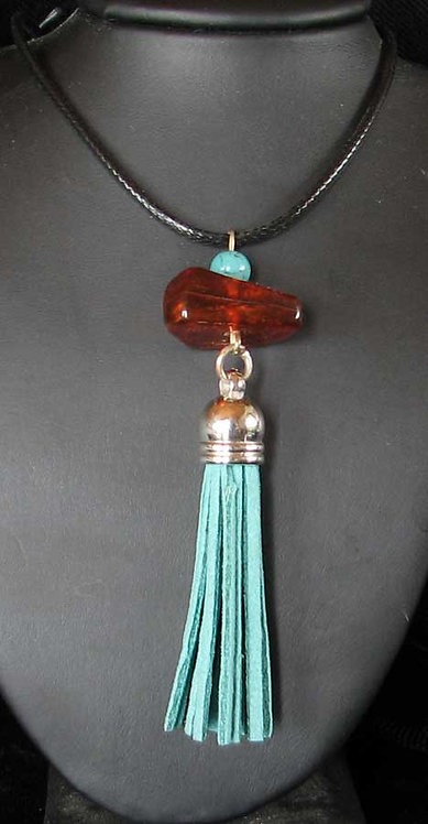 Amber and Turquoise Tassel Pendant-2