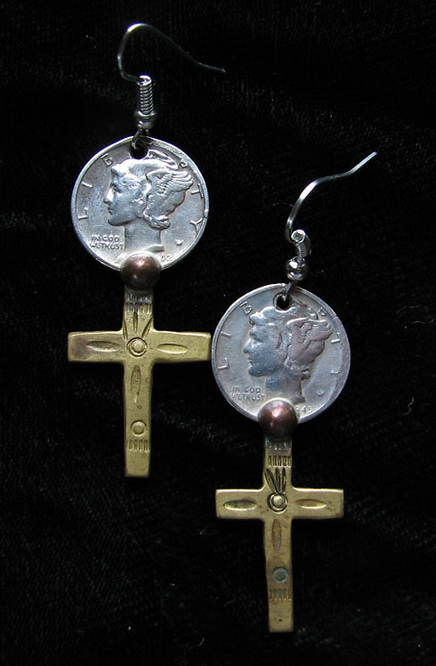 Navajo Antique Silver Dime Earrings