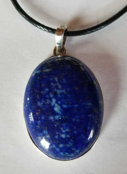 Lapis Lazuli Sterling Silver Pendant with Vegan Leather Cord-13