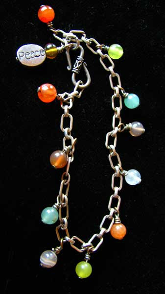 Handmade Chakra Sterling Silver 'Peace' Bracelet