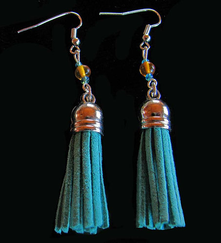 Amber and Turquoise Suede Tassel Earrings