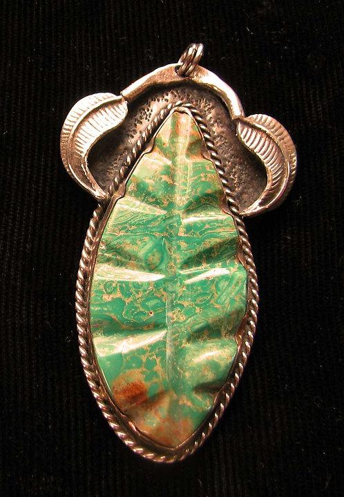 Navajo Sterling Silver Handmade Varascite Pendant
