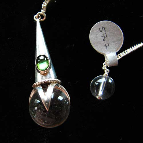Sterling Silver Quartz and Elbaite Tourmaline Pendulum