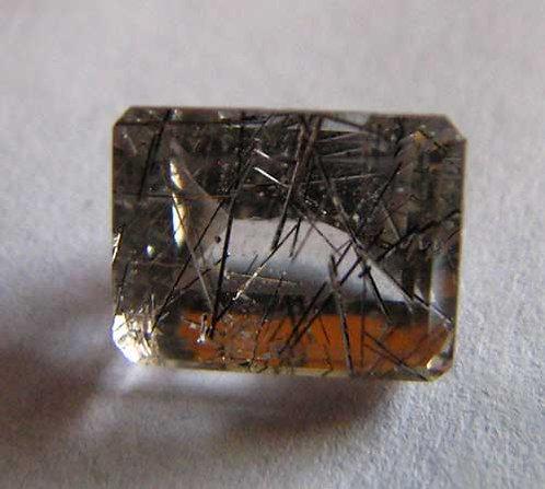 Tourmilated Quartz Faceted Gemstone
