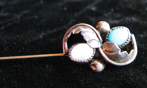 Old Pawn Turquoise and Moonstone Stick Pin