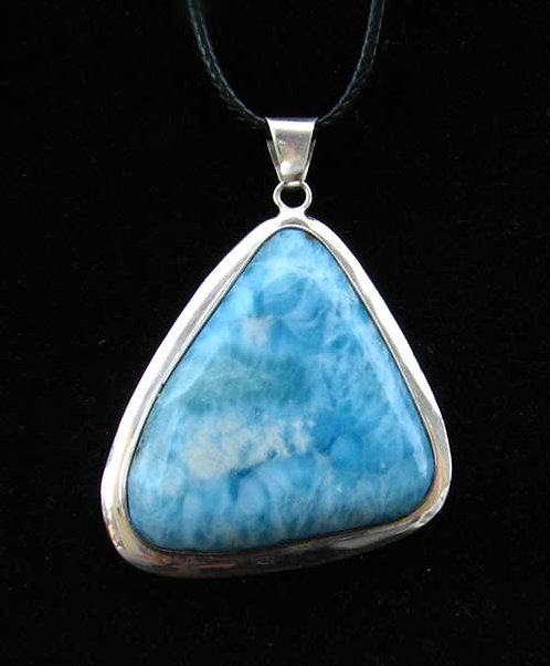 Sterling Larimar Pendant with Cord or Silver Chain-18