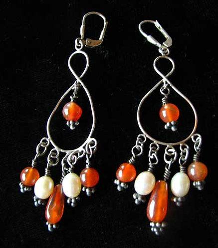 Handmade Sterling, Carnelian and Pearl Earrings