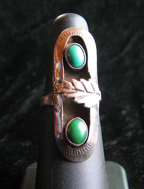 Navajo Old Pawn Double Turquoise Ring