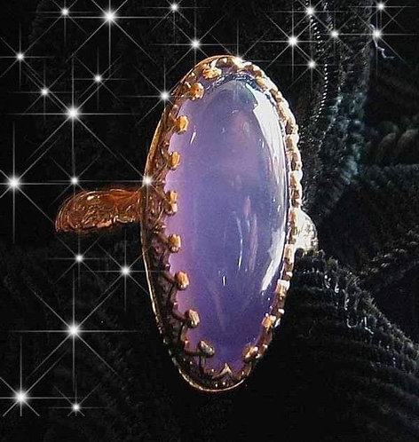 FANTASTIC Holly/Holley Blue Agate Ring, Solid 14k Gold. Size (8.5)