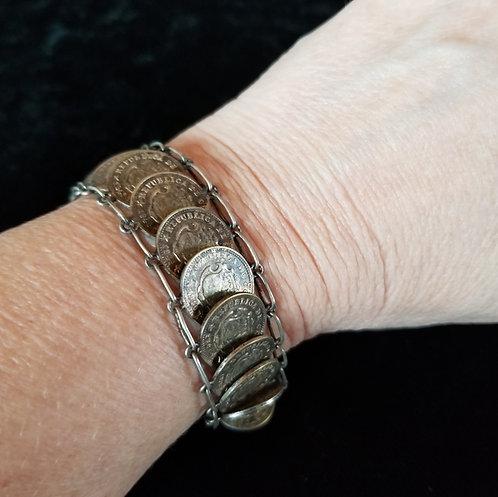 Antique 750 Silver Centavos Mexican Coin Link Bracelet