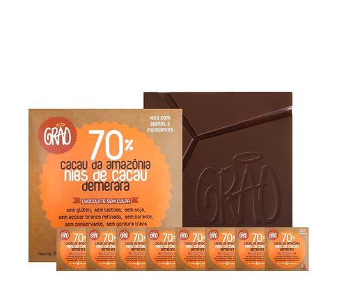 KIT 08x Chocolates 70% Cacau da Amazônia, Nibs de Cacau e Açúcar Demerara.