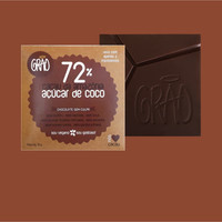 CHOCOLATE 72% CACAU DA AMAZÔNIA, E AÇÚCAR DE COCO.