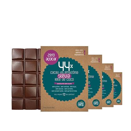 KIT 04x Chocolates 44% DIET com Stévia e Leite de Coco.
