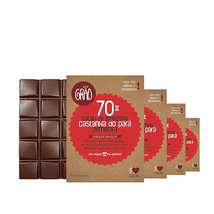 KIT 04x Chocolates 70% Cacau da Amazônia, Castanha do Pará e Açúcar Demerara.