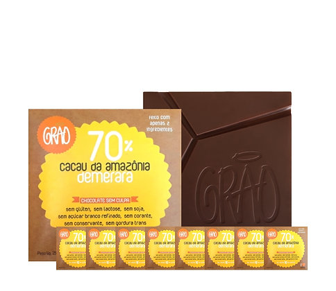 KIT 08x Chocolates 70% Cacau da Amazônia e Açúcar Demerara.