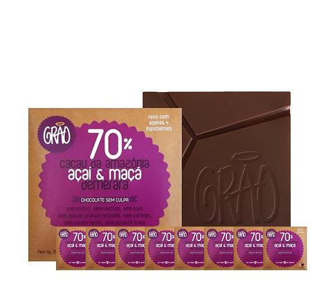 KIT 08x Chocolates 70% Cacau da Amazônia, Passa de Maçã com Açaí e Demerara.