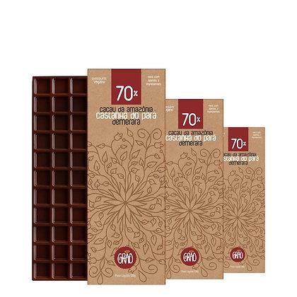KIT 03x Chocolates 130g 70% Cacau da Amazônia, Castanha do Pará, Açúcar Demerara
