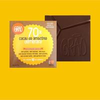 CHOCOLATE 70% CACAU DA AMAZÔNIA, E AÇÚCAR DEMERARA.