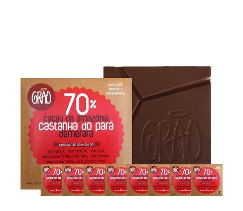 KIT 08x Chocolates 70% Cacau da Amazônia, Castanha do Pará e Açúcar Demerara.