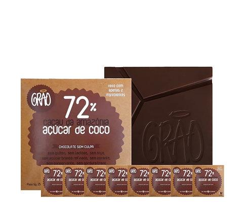 KIT 08x Chocolates 72% Cacau da Amazônia e Açúcar de Coco.